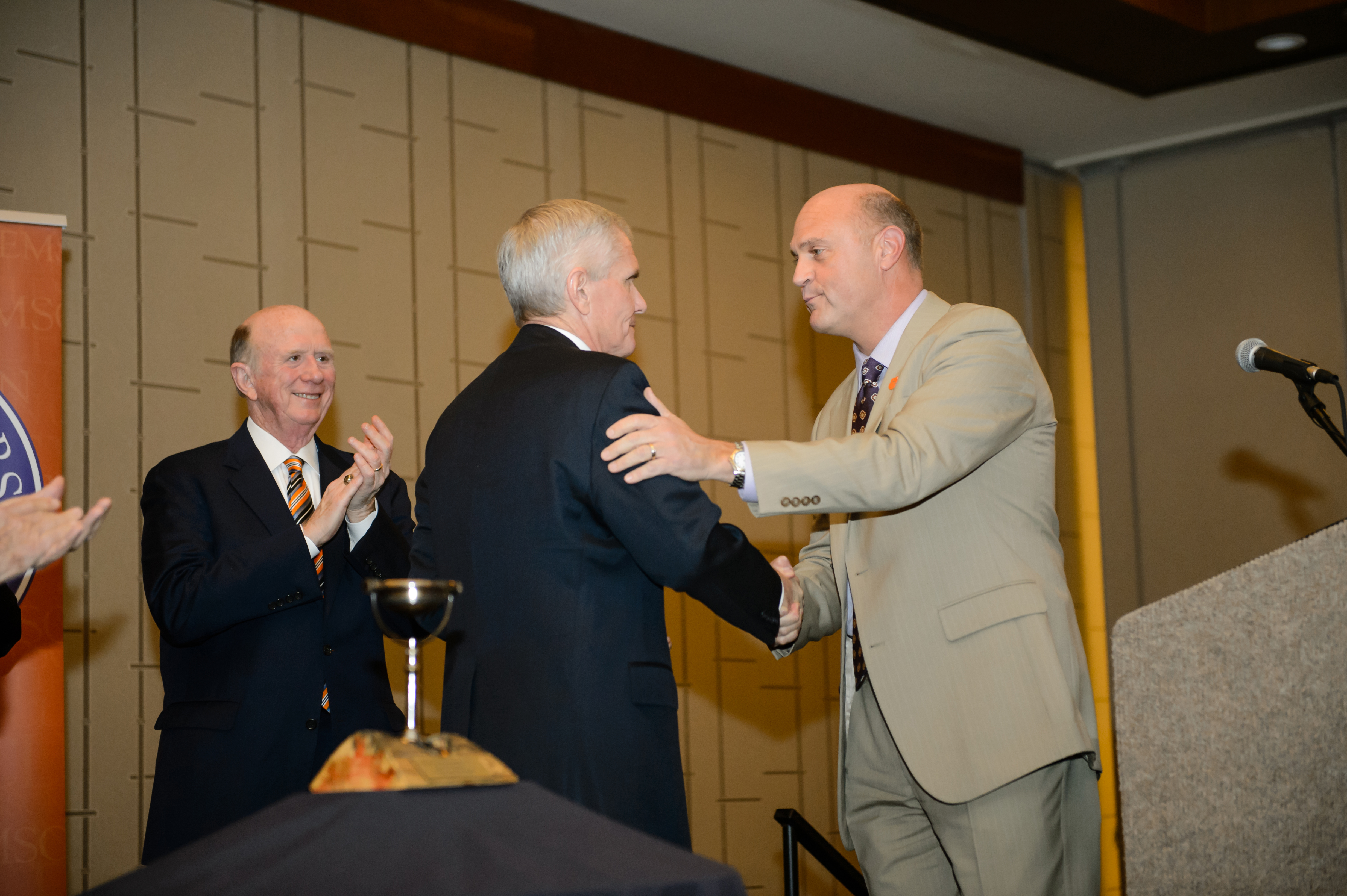 James Barker recieving the award from Clemson President, Dr. James Clements